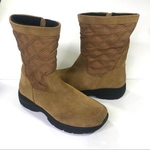 Lands' End Tan Quilted Suede All Weather Boots 9
